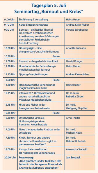 Emil Schlegel Klinik Vortrag Programm Juli 2014
