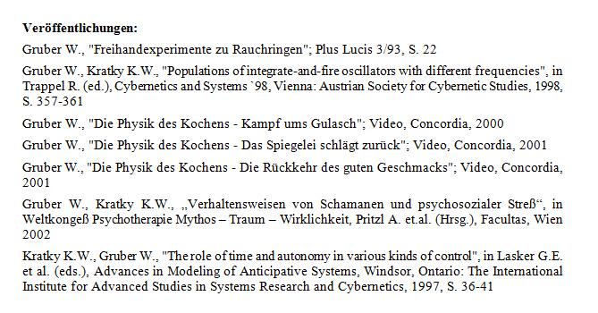 Gruber Werner - Publikations-Liste