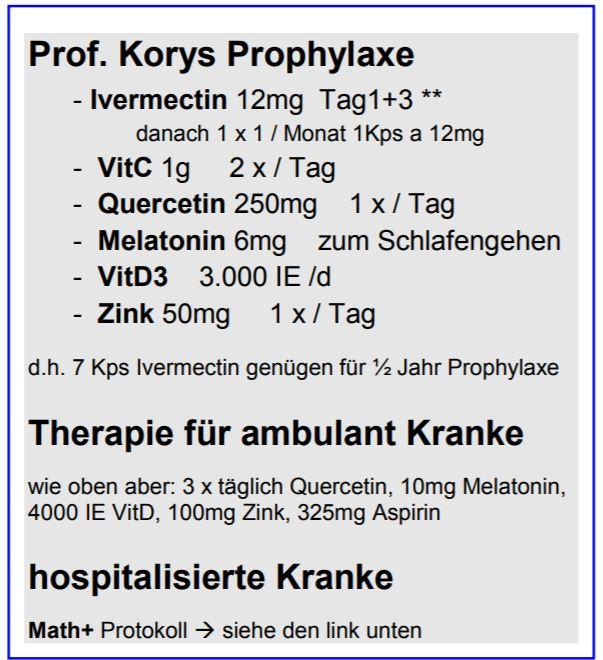 Prophylaxe Dr. Kory mit Ivermectin