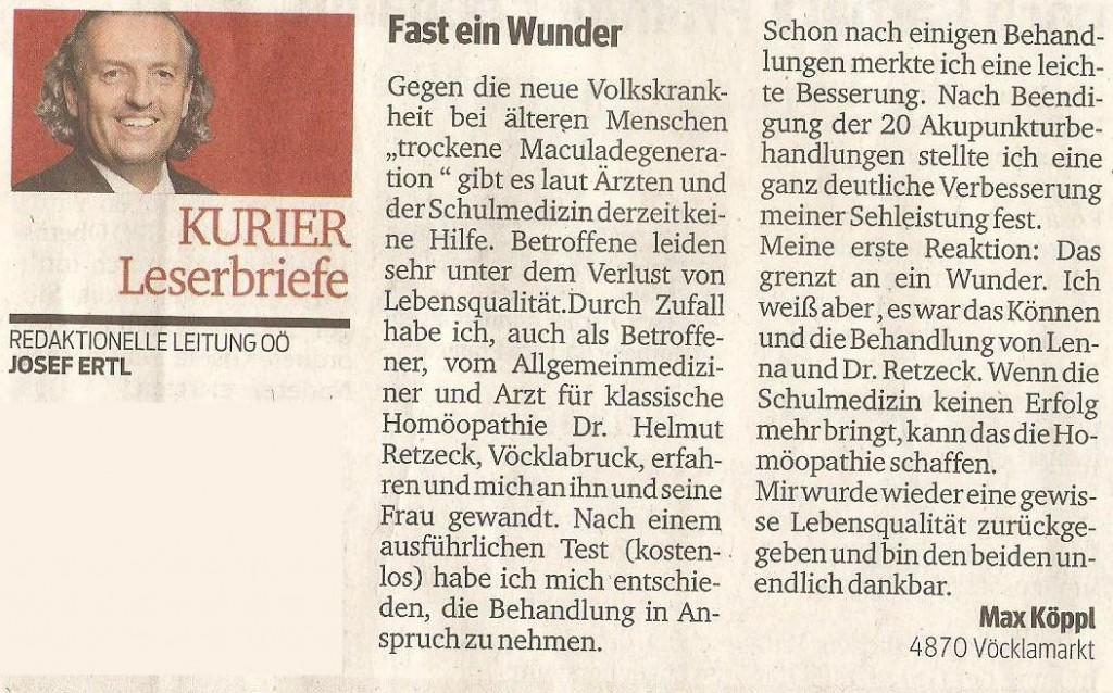 Leserbrief erschienen im Kurier Juni 2015 von Max Köpl. Herr Köpl hat mehrere Zeitungen diesbezüglich angeschrieben und angerufen