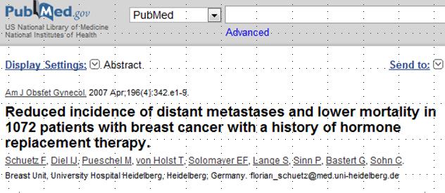 Studie von Schütz et al über Verlauf von Patienten, welche unter HRT einen Brustkrebs bekommen haben